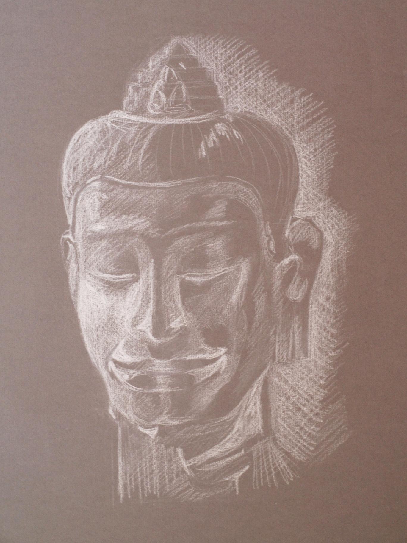 Bouddha crayon blanc
