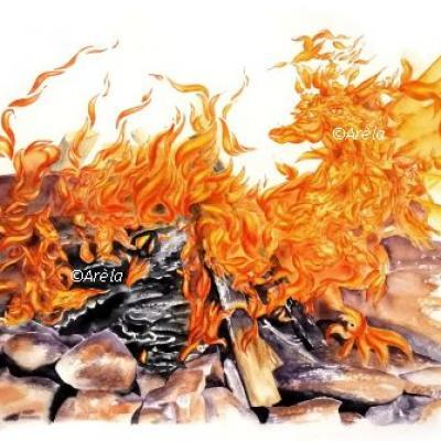 Paysage dragon feu